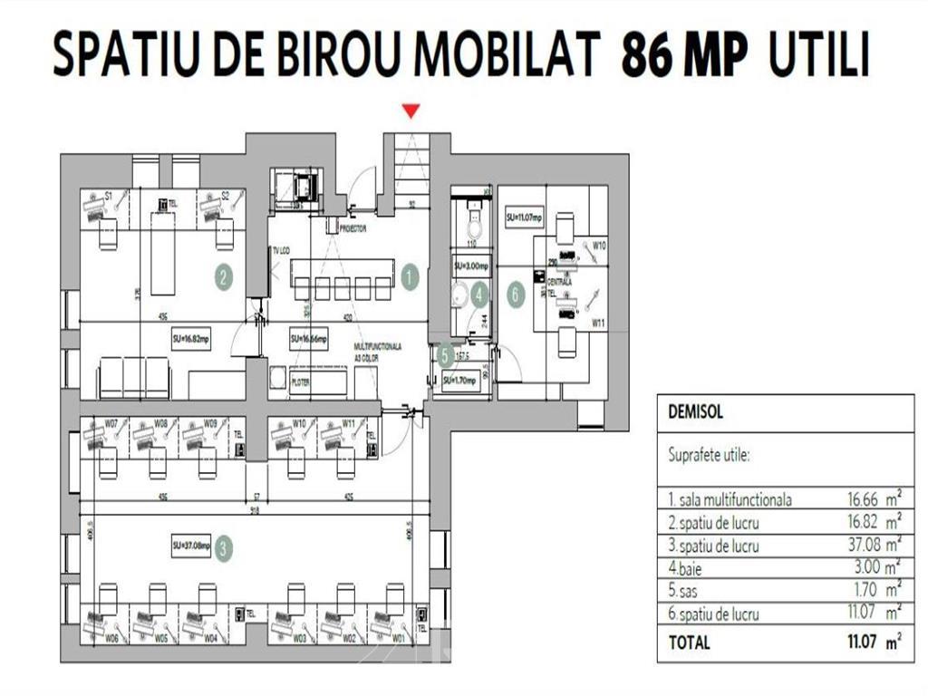 Birou de inchiriat Timpuri noi - demisol - 86 mp util