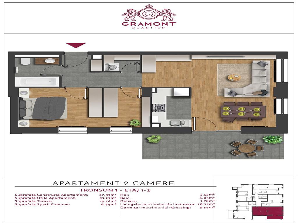 Apartamentul ideal cu terasa de 14 mp si dressing walk-in langa Parc